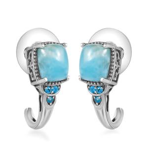 Larimar, Malgache Neon Apatite Platinum Over Sterling Silver J-Hoop Earrings TGW 4.74 cts.