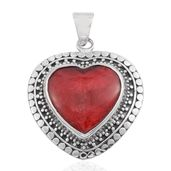 Bali Legacy Collection Sponge Coral Sterling Silver Heart Pendant without Chain TGW 16.00 cts.