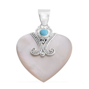 Bali Legacy Collection Mother of Pearl, Mojave Sleeping Beauty Turquoise Sterling Silver Pendant without Chain TGW 0.50 cts.