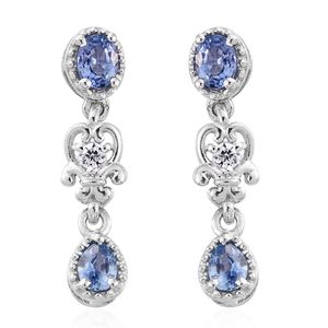Ceylon Blue Sapphire, Cambodian Zircon Drop Earrings in Platinum Over Sterling Silver 0.85 ct tw
