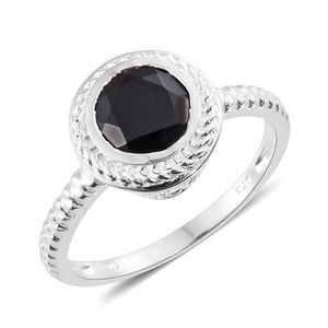 Thai Black Spinel Sterling Silver Halo Ring (Size 7.0) TGW 2.40 cts.