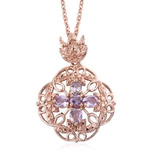 Rose De France Amethyst 14K RG Over Sterling Silver Pendant With ION Plated RG Stainless Steel Chain (20 in) TGW 0.75 cts.