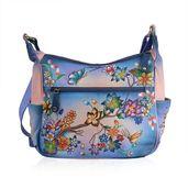 SUKRITI -Genuine Leather Pink and Blue Handpainted Beauty of Nature Handbag (13.5x4.5x12 in)