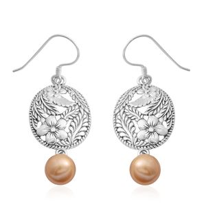 Bali Legacy Collection South Sea Golden Pearl (9.3 mm) Sterling Silver Openwork Floral Drop Earrings