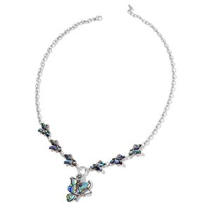 Abalone Shell, White Austrian Crystal Black Oxidized Iron Floral Butterfly Necklace (22 in)