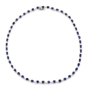Kanchanaburi Blue Sapphire Sterling Silver Tennis Necklace (18 in) TGW 24.50 cts.