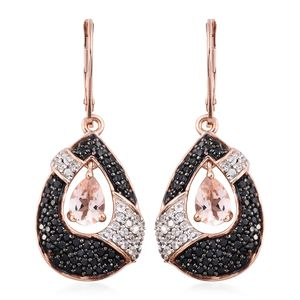 Marropino Morganite, Thai Black Spinel, Cambodian Zircon Black Rhodium & Vermeil RG Over Sterling Silver Dangle Drop Earrings TGW 3.09 cts.