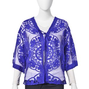 Blue Floral Pattern 80% Viscose & 20% Polyester Lace Tie Front Kimono (21.66x23.63 in)