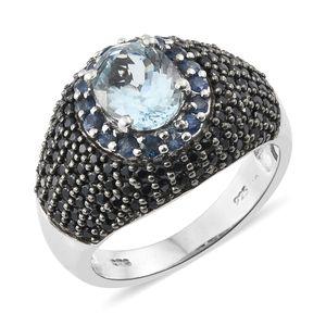 AAA Espirito Santo Aquamarine, Kanchanaburi Blue Sapphire, Thai Black Spinel Platinum Over Sterling Silver Ring (Size 7.0) TGW 4.22 cts.
