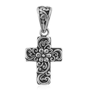Bali Legacy Collection Sterling Silver Floral Cross Pendant without Chain (2.6 g)