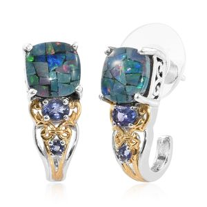 Australian Mosaic Opal, Catalina Iolite 14K YG and Platinum Over Sterling Silver J-Hoop Earrings TGW 3.71 cts.