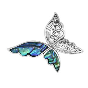 Request by Daniel Bali Legacy Collection Abalone Shell Sterling Silver Butterfly Pendant without Chain