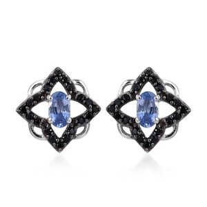 Ceylon Blue Sapphire, Thai Black Spinel Platinum Over Sterling Silver Stud Earrings TGW 1.08 cts.