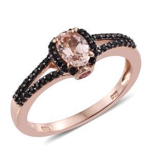 Marropino Morganite, Mahenge Pink Spinel, Thai Black Spinel 14K RG Over Sterling Silver Split Ring (Size 5.0) TGW 1.34 cts.