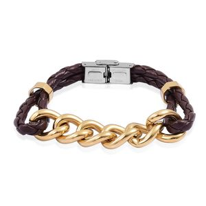 Faux Leather, ION Plated YG Stainless Steel Men's Bracelet (8.50 In)