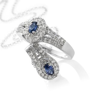 Ceylon Blue Sapphire, Cambodian Zircon Platinum Over Sterling Silver Ring (Size 6) and Pendant With Chain (20 in) TGW 1.70 cts.