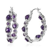 Uruguayan Amethyst, Amethyst Platinum Over Sterling Silver Inside Out Studded Heart Hoop Earrings TGW 8.80 cts.