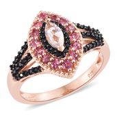Marropino Morganite, Morro Redondo Pink Tourmaline, Thai Black Spinel Vermeil RG Over Sterling Silver Ring (Size 6.0) TGW 1.55 cts.