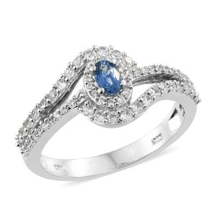 Ceylon Blue Sapphire, Cambodian Zircon Platinum Over Sterling Silver Ring (Size 6.0) TGW 1.13 cts.