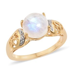 Rainbow Moonstone, White Topaz Vermeil YG Over Sterling Silver Ring (Size 9.0) TGW 4.68 cts.