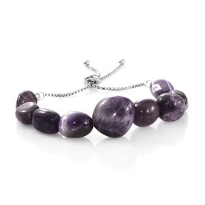 Amethyst Platinum Over Sterling Silver Bolo Bracelet (Adjustable) TGW 115.00 cts.