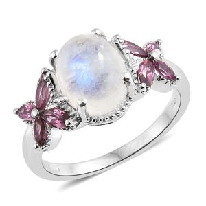 Rainbow Moonstone, Orissa Rhodolite Garnet Platinum Over Sterling Silver Butterfly Ring (Size 7.0) TGW 5.64 cts.