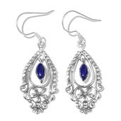Artisan Crafted Lapis Lazuli Sterling Silver Earrings TGW 1.69 cts.