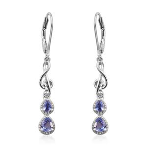 Tanzanite (2A) Platinum Over Sterling Silver Lever Back Music Clef Earrings TGW 0.88 cts.