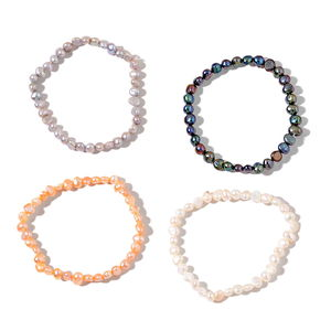 Set of 4 Freshwater Gray, White, Peach and Peacock Pearl Bracelets (Stretchable)