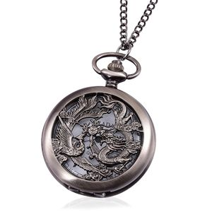 STRADA Japanese Movement Water Resistant Brasstone Dragon and Phoenix Pocket Watch With Chain (31 in)