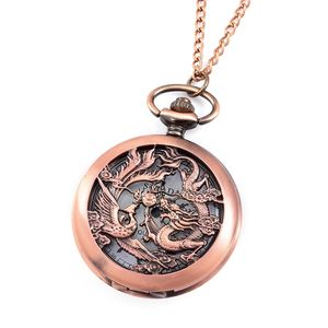 STRADA Japanese Movement Water Resistant Rosetone Dragon and Phoenix Pocket Watch With Chain (31 in)