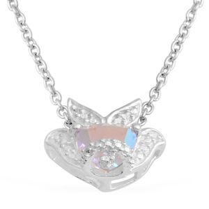 Mercury Mystic Topaz Sterling Silver Fish Pendant With Stainless Steel Chain (20 in) TGW 1.35 cts.