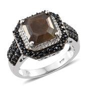 Asscher Cut Chocolate Sapphire, Thai Black Spinel, Cambodian Zircon Platinum Over Sterling Silver Ring (Size 5.0) TGW 5.95 cts.