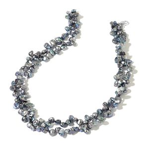 Keshi Peacock Pearl Sterling Silver Double Strand Necklace with Lobster Clasp (18 in)