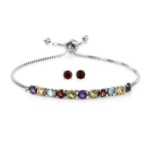MD Multi Gemstone Stainless Steel Stud Earrings and Bolo Bracelet (Adjustable) TGW 4.30 cts.