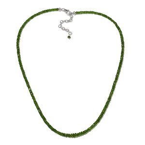 Russian Diopside Beads Platinum Over Sterling Silver Necklace (18 in) TGW 48.00 cts.