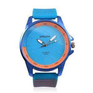 STRADA Japanese Movement Water Resistant Watch with Blue Silicone Band and Stainless Steel Back