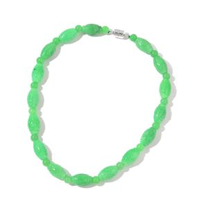 Burmese Green Jade Sterling Silver Beads Necklace (18 in) TGW 427.50 cts.