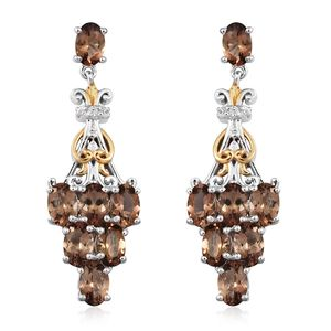 Mocha Scapolite, Cambodian Zircon 14K YG and Platinum Over Sterling Silver Openwork Dangle Earrings TGW 5.37 cts.