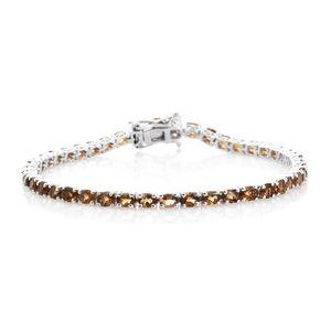 Mocha Scapolite Platinum Over Sterling Silver Tennis Bracelet (7.50 In) TGW 7.85 cts.