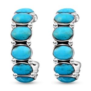 Santa Fe Style Kingman Turquoise Sterling Silver Half Hoop Earrings TGW 3.75 cts.