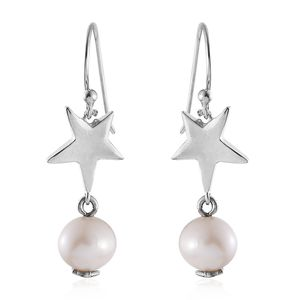 Freshwater Pearl Sterling Silver Star Drop Earrings