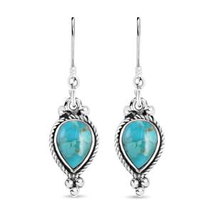 Santa Fe Style Kingman Turquoise Sterling Silver Earrings TGW 3.50 cts.