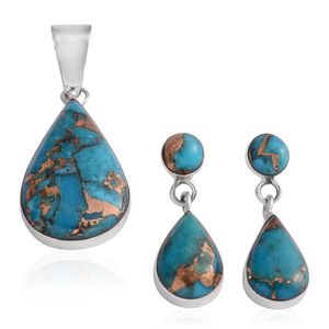 Santa Fe Style Mojave Blue Turquoise Sterling Silver Earrings and Pendant without Chain TGW 10.50 cts.