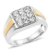 Natural White Zircon 14K YG and Platinum Over Sterling Silver Men's Ring (Size 12.0) TGW 2.58 cts.