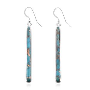 Santa Fe Style Mojave Blue Turquoise Sterling Silver Elongated Drop Earrings TGW 5.00 cts.