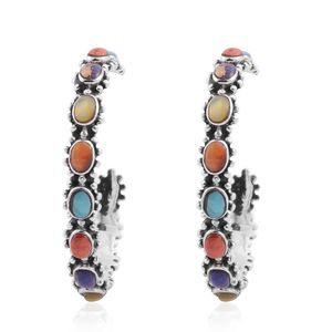 Santa Fe Style Multi Gemstone Sterling Silver Hoop Earrings TGW 1.80 cts.