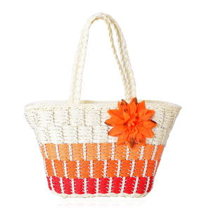 Shades of Orange Straw Woven Tote Bag (16x6x12 in)