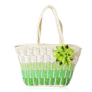 Green Straw Pastoral style Tote Bag (17.2x11.4x4.6x10.4 in)