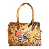 SUKRITI - Brown Safari Hand Painted Genuine Leather Shoulder Bag with Standing Studs (15x6x11.5 in)
